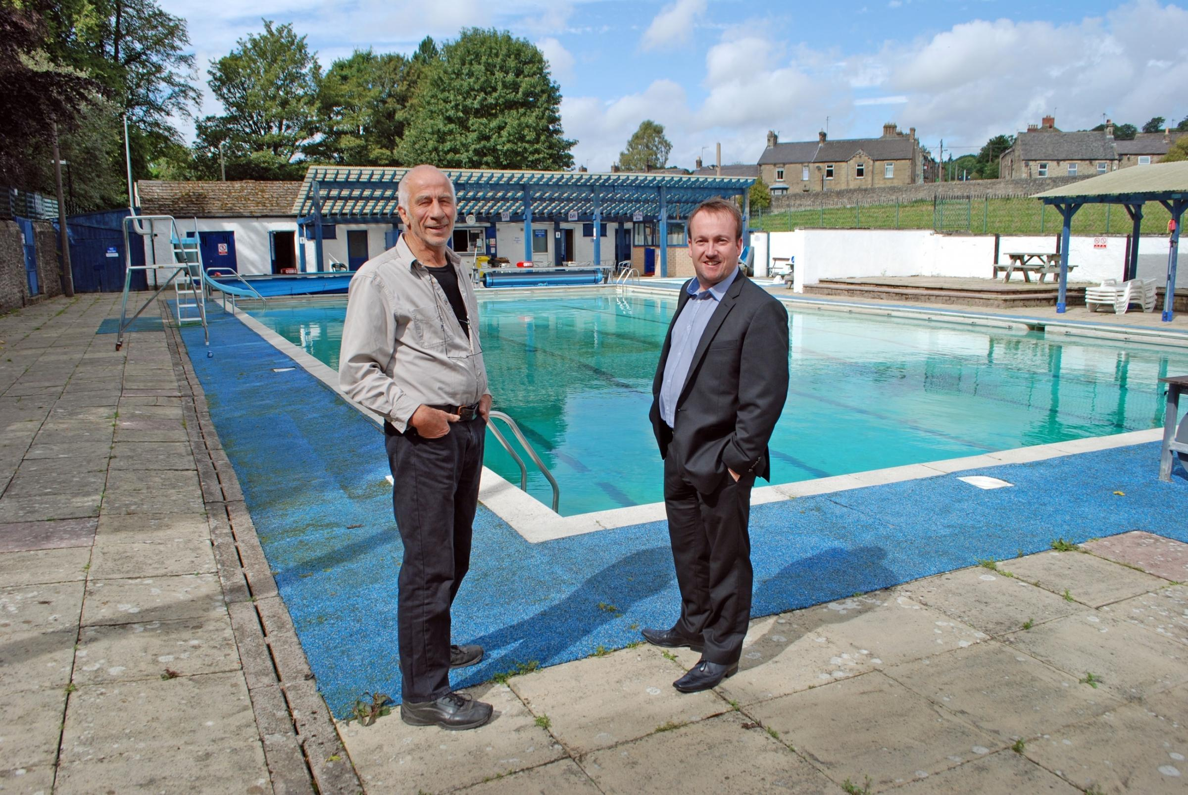HEATING HOPES: (L to R) Peter Thompson, chairman of Stanhope Pool Ltd, with Chris Cassells, managing director of Opus Green, at Weardale Open Air Pool
