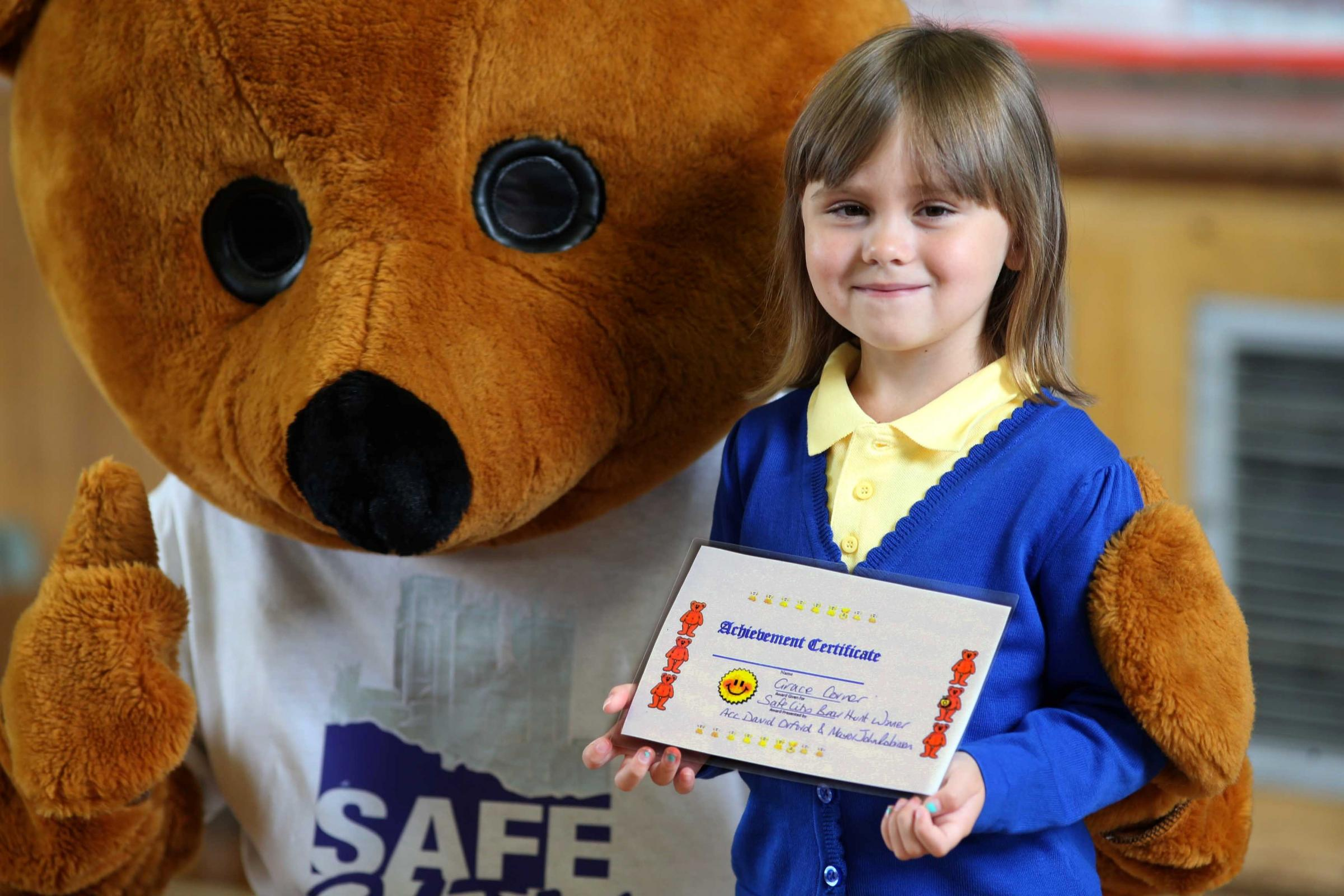 BEAR HUNT: Six year old Grace Corner who won the Safe Cities Teddy Bear Hunt competition, pictured at Gilesgate Priamry School.                 Picture: ANDY LAMB (9981047)