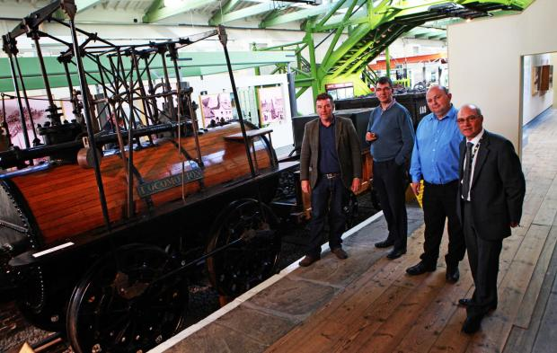 HERITAGE SITE: Tim Crawshaw, officer for environment and urban design at Darlington Borough Council, Cllr Chris McEwan, Cllr Nick Wallis and John Anderson, the council's assistant director for regeneration, with Locomotion No. 1 at the Head of Steam M