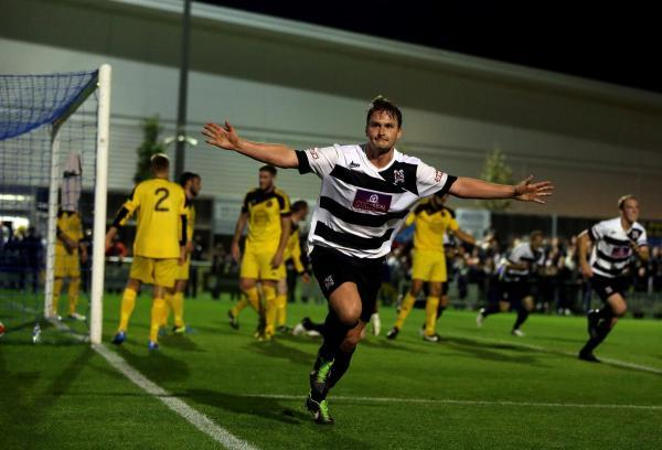 REPLAY WIN: Graeme Armstrong celebrates scoring in Darlington's FA Cup win over West Auckland on Wednesday