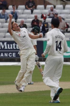 LUCK OF THE IRISH: Durham debutant Peter Chase celebrates one of his five wickets