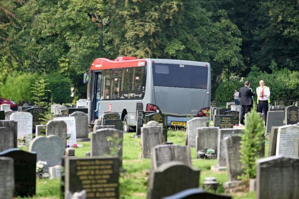 PASSENGERS INJURED: Bus crashes into a cemetery