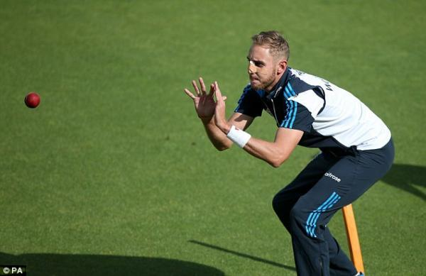 Stuart Broad's nose is strapped up after it was broken by India paceman, Varun Aaron