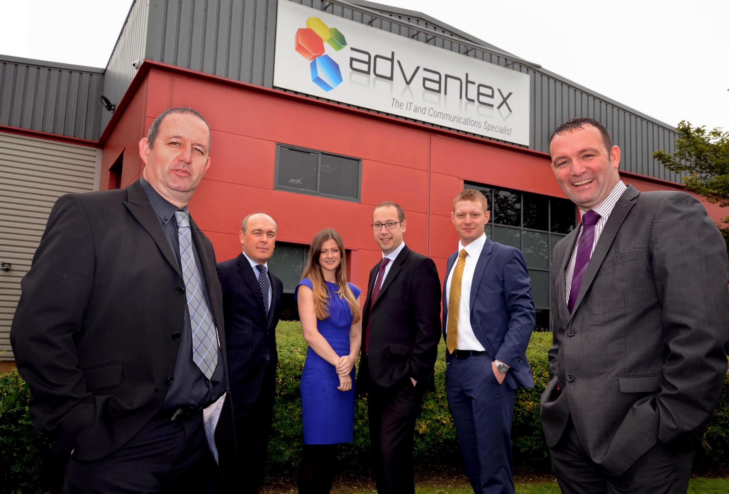 INVESTMENT DELIGHT: Pictured from left to right are David O'Connell, from Advantex, Ward Hadaway's Richard Butts, Esther Wilson, of Rivers Capital Partners, Ben Williamson, of Clive Owen & Co, Nikita Bazko, of Rivers Capital Partners, and Adva