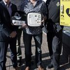 The Northern Echo: DEFIBRILLATOR PRESENTATION: Sedgefield Village Games presents a defibrillator to the community. From left, surgery practice manager Neil Bunney, Ean (CORRECT) Parsons, chairman of the village games, heart attack survivor Barry Watson and Peter Field of th