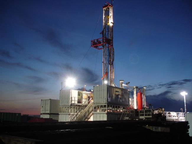 POTASH: A drilling rig set up during exploratory work