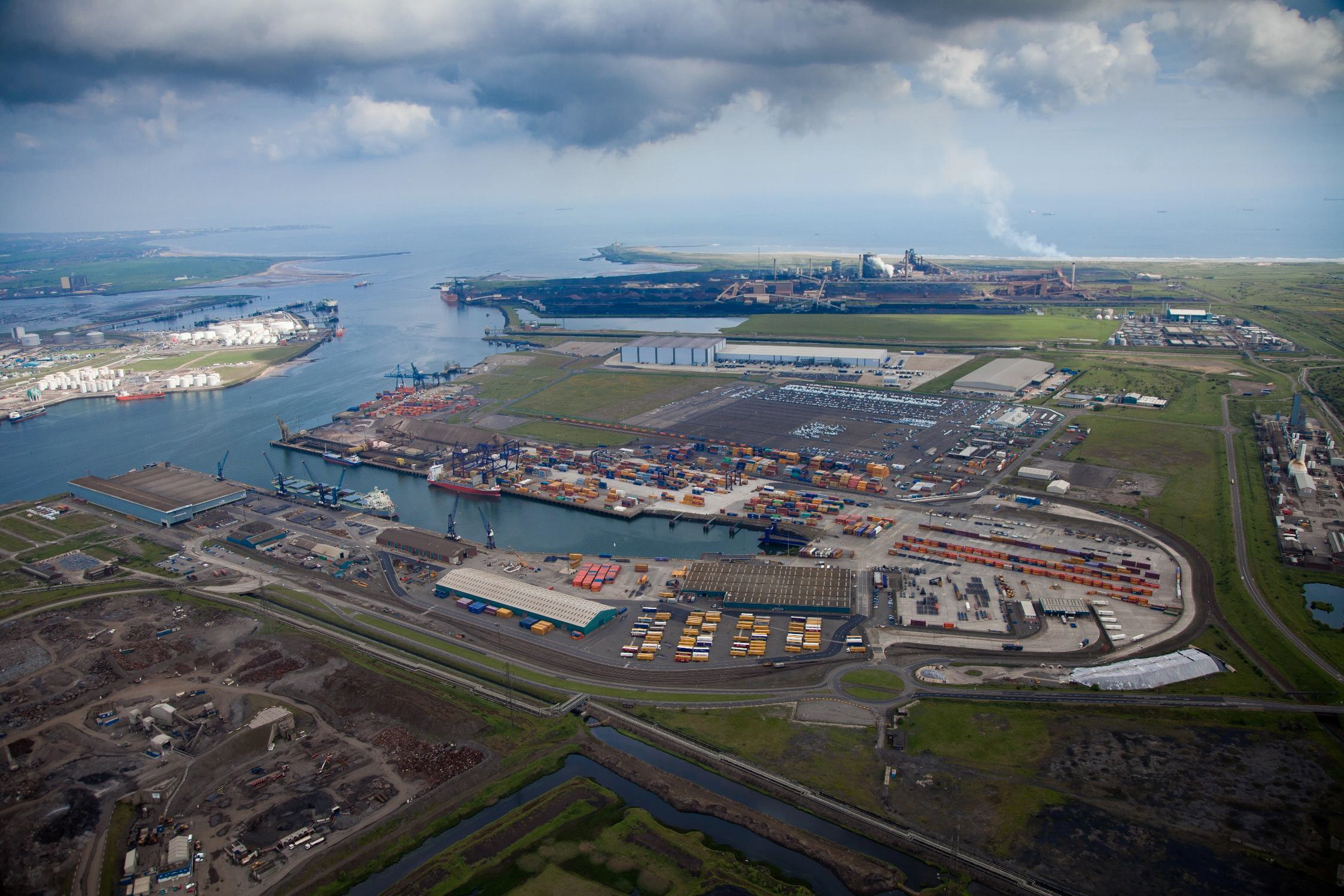 FROM THE AIR: Teesport, with the redundant steelworks above and the North Sea beyond. Could this area become a low tax haven for manufacturing?