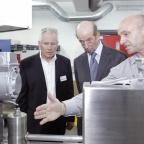 The Northern Echo: From left to right: Colin Billiet, managing director, nano-porous solutions ltd, HRH Duke of Kent and John Pearson, research and development manager, nano-porous solutions ltd.