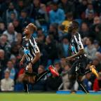 The Northern Echo: BIG IMPACT: Rolando Aarons (left) celebrates scoring Newcastle's opening goal in their 2-0 win over Manchester City