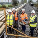 The Northern Echo: NEW PLATFORM: Cllr Wilkinson, right, with leader of the Council, Cllr Mark Robson and John Graham, Northallerton West project manager and Philip Smith, Wensleydale Railway Trust secretary.