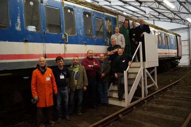 MOST TRAVELLED: Volunteers are launching an appeal to help restore a commuter train, well-known to millions of commuters (l-r) David Godfrey, Ian Shepherd, Mark Battle, David Adams, Robert Curtis, Paul Colbeck, James Chittock, Mark Davies, Chris Osman, An