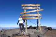 AT THE TOP: Becci reaches the summit of Kilimanjaro.