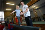 SPORT APPRENTICE:  Lewis Milner, a Sports activators apprentice, with Grace Harding, at a session in Stanhope Barrington Primary School. Picture: TOM BANKS