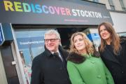 Stockton Council's Head of Regeneration and Economic Development and member of Stockton Town Team, Richard Poundford, High Street Minister Penny Mordaunt MP and Joanna Wake of Raw Marketing and a member of Stockton Town Team outside the Rediscover Stock