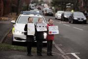 PARK SAFELY: Jessica Armstrong, Louise Self and Jessy May Norman outside Aycliffe Village Primary School. (13286501)
