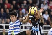 MY BALL: Yoan Gouffran wins possession during Newcastle's 1-0 win over QPR