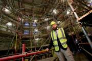 BEHIND THE SCENES: Tom Billington, Property and Facilities Manager views the progress as work continues on the £10m Open Treasures programme areas at Durham Cathedral. Picture: DAVID WOOD