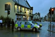LOCK DOWN: Police at the scene of the bomb scare in Knaresborough