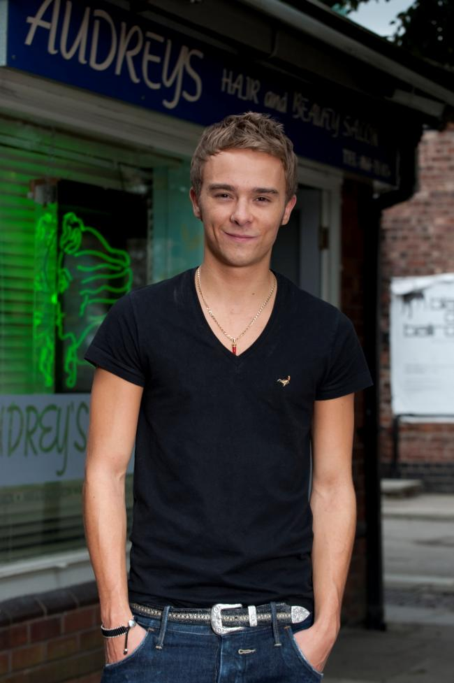 Jack P Shepherd on the set of TV's Coronation Street