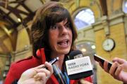 Rail Minister Claire Perry fields questions from the media at York station