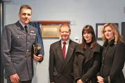 YOUTH CLUB: RAF Leeming Station Commander, Group Captain Steve Reeves with David Arnett and daughters, Emma and Lisa.