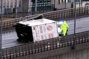 FLASH BACK: A lorry on its side during high winds in Newcastle last year