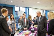 The Duke of York, Prince Andrew, talks to students and staff at the new Studio West school in Newcastle