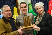 Ross Graham, 16, of Billingham, receives the Tom Brown Award from Christopher and Jacinta Brown