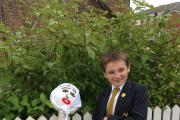BLOOMING: Year 9 student, Johnathan Hatfield, who helped to make the scarecrow.