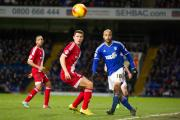 FOCUSED ON THE BALL: David McGoldrick of Ipswich Town chips the ball past the attentions of Middlesbrough's Milos Veljkovic of Middlesbrough. Picture: Ray Lawrence/TGSPHOTO