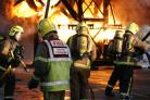 Firefighters learning how to tackle a blaze at Newcastle Airport Fire Training Academy.