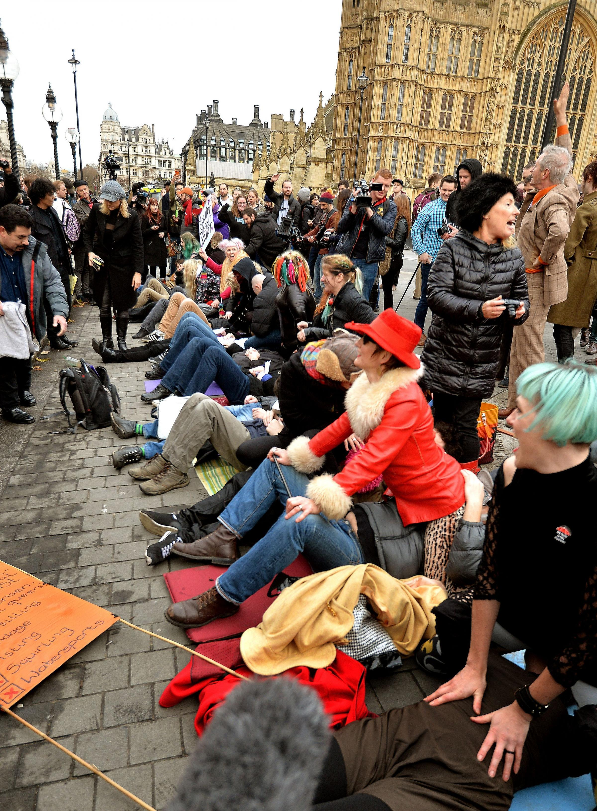 Feminists and adult movie stars hold an unusual protest outside the Commons