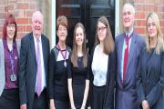 REMEMBERING:  Durham Sixth Form Centre head of history Marie Harrison, chair of governors Dennis Southwell, Deputy Mayoress of Durham Pat Conway, students Abigail Gowland and Charlotte Foakes, Deputy Mayor of Durham Patrick Conway and deputy headteacher L