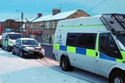 RAID: Police raid a house on Sherburn Road Estate Picture: DURHAM CONSTABULARY