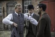 Looking for clues: Martin Clunes as Arthur, Arsher Ali as George and Charles Edwards as Woodie