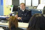 DEBATE: Durham Police Deputy Chief Constable Michael Banks speaks with students at Longfield Academy's Inspire group