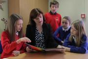 MINISTER: Nicky Morgan, Secretary of State for Education talks with pupils at Yarm Primary School from left ten year olds Sophie Cuthbert, Noah Bickenson, Coco Sowden and Rachel Aucott. Picture: ANDY LAMB