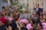 The Second Best Exotic Marigold Hotel. Left to Right, Celia Imrie as Madge Hardcastle, Ronald Pickup as Norman Cousins, Diana Hardcastle as Carol, Judi Dench as Evelyn Greenslade, Maggie Smith as Muriel Donnely an