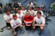 SPINNING: Corporal Leanne Taylor and the spinathon pedallers.