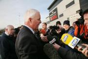 Dignified: Harvey Madden addresses the press outside the stadium