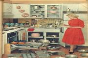 Scenes from the 1950s when domestic chores consumed more hours each day and a lot more calories - a woman in the kitchen (19973465)
