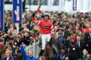Nico de Boinville on Coneygree celebrates after winning the Betfred Cheltenham Gold Cup Chase. Picture: Nick Potts/PA