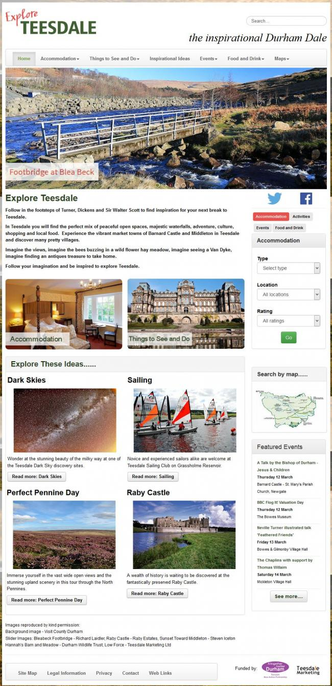 The Explore Teesdale Website New Home Page