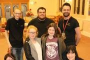 CLUB TOGETHER: Alex Callum and Jessica Sargent, ten with volunteers George Lea, Charlie Simpson and Jake Conder, activities coordinator Adam Wilding and Sharon Mearns, of Broadacres