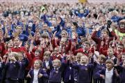 HAKA: Thousands of schoolchildren take part in the world record attempt at Darlington's Northern Echo Arena