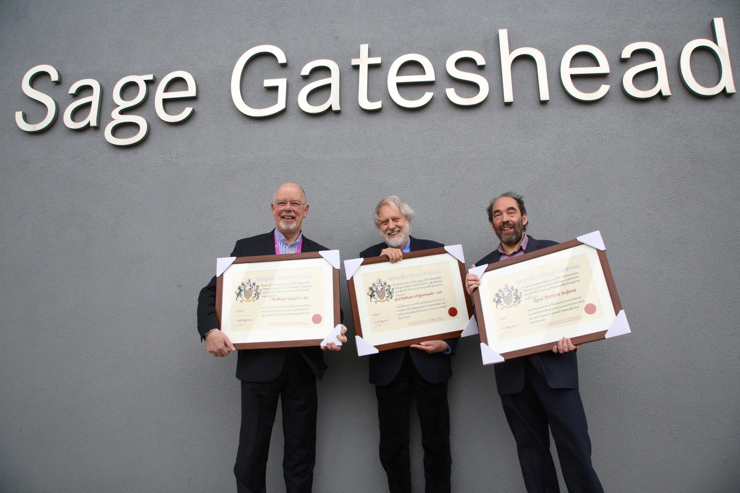 FREEMEN: Sage Gateshead general director Anthony Sargent, Oscar-winning film producer Lord David Puttnam and Royal Northern Sinfonia (represented by leader Bradley Creswick) have all become Freemen of Gateshead (21837604)