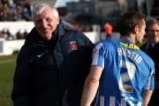 Hartlepool V Cambridge - Sky Bet League 2. Ronnie Moore wave to Pools fans after his team beat Cambridge 2-1. Picture: TOM BANKS (21881868)