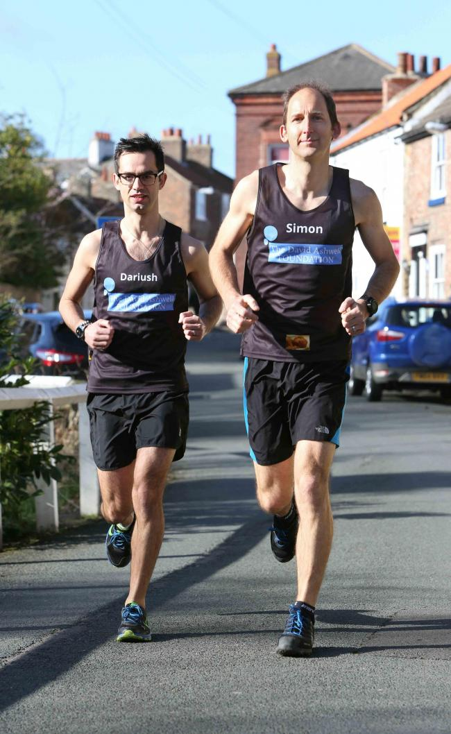 MARATHON: (l-r) Dariush Kamali and Simon Ashwell preparing for their marathon to raise funds for the David Ashwell Foundation. Picture: RICHARD DOUGHTY PHOTOGRAPHY