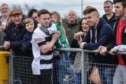 PROUD MOMENT: Nathan Cartman celebrates with son Alfie after scoring last Saturday against Droylsden. Picture: TIM HICKMAN