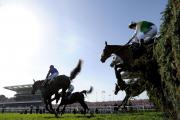 SAFELY OVER: Many Clouds jumps The Chair on his way to Grand National glory